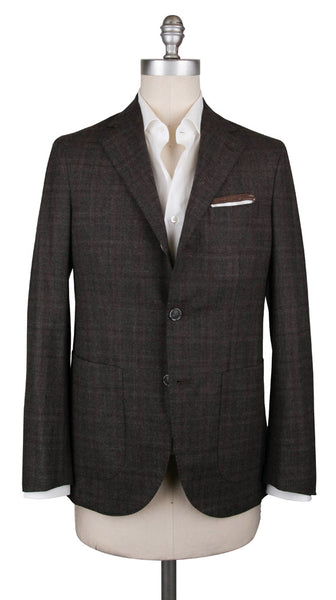 $1200 Barba Napoli Brown Wool Blend Plaid Sportcoat - (LELLO1408) - Parent
