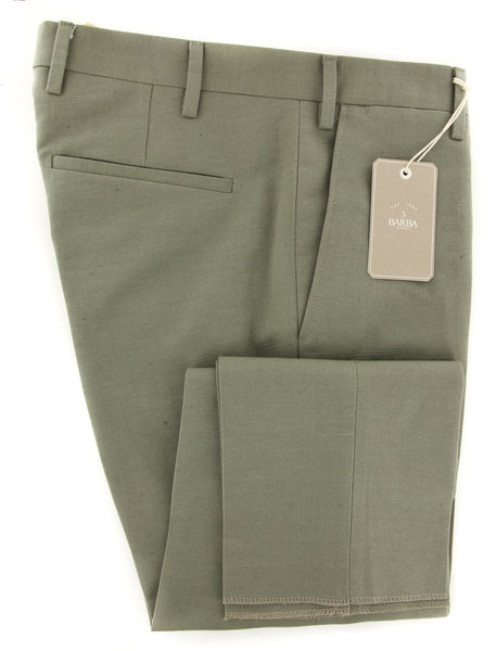 New $325 Barba Napoli Olive Green Solid Pants - Extra Slim - (BA377050185R6) - Parent