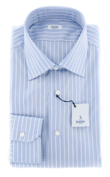 New $325 Barba Napoli Blue Striped Shirt - Slim - 15.5/39 - (D2U10T00000C9)