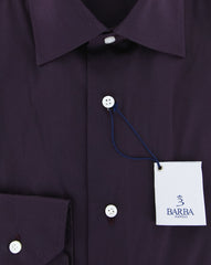 New $325 Barba Napoli Burgundy Red Solid Shirt - Slim - (BN2000000910) - Parent