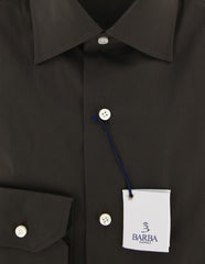 New $325 Barba Napoli Dark Brown Solid Shirt - Slim - (BN2000001310) - Parent