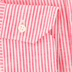New $325 Barba Napoli Pink Striped Shirt - Slim - (D22000185U10T) - Parent