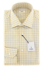 New $325 Barba Napoli Yellow Plaid Shirt - Slim - 14.5/37 - (D220000R8-U10-T)