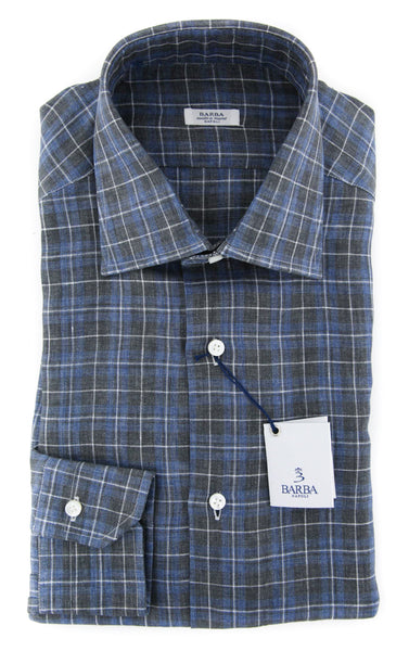 New $325 Barba Napoli Blue Plaid Shirt - Slim - (D22000R124U10T) - Parent