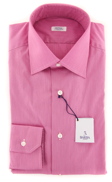 New $325 Barba Napoli Pink Solid Shirt - Slim - (BN2036230710) - Parent