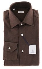 $325 Barba Napoli Brown Solid Cotton Shirt - Slim - (851)