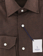 $325 Barba Napoli Brown Solid Cotton Shirt - Slim - (851) - Parent
