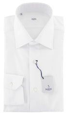 $325 Barba Napoli White Solid Cotton Shirt - Full - 15/38 - (824)