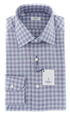 $325 Barba Napoli Light Blue Check Cotton Shirt - Slim - (854)
