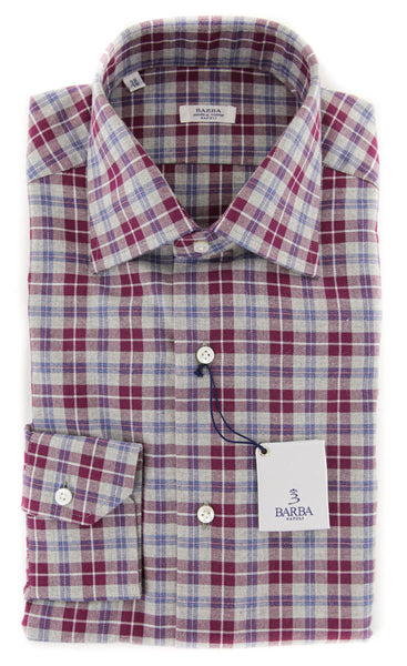 $325 Barba Napoli Gray Plaid Cotton Shirt - Slim - (822) - Parent