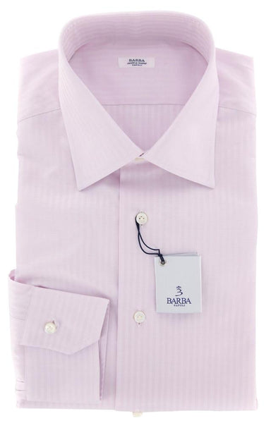 New $325 Barba Napoli Pink Striped Shirt - Slim - 15/38 - (D2U13T302620)