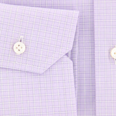 New $325 Barba Napoli Purple Check Shirt - Slim - (310824U10T) - Parent