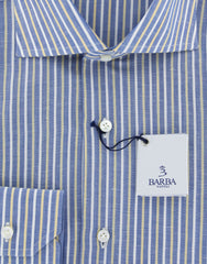 New $325 Barba Napoli Blue Striped Shirt - Slim - 17/43 - (D2U13T323407)