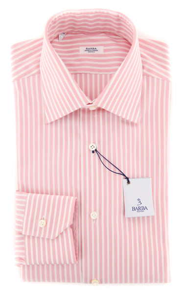 New $325 Barba Napoli Pink Striped Shirt - Slim - (327107U10T) - Parent