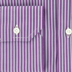 New $325 Barba Napoli Purple Striped Shirt - Slim - 15.5/39 - (D2U10T330017)