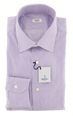 New $325 Barba Napoli Purple Striped Shirt - Slim - 16/41 - (D2U10T341906)