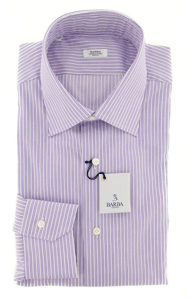 New $325 Barba Napoli Purple Striped Shirt - Slim - 16.5/42 - (D2U10T341906)