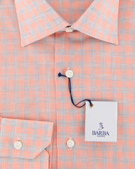 New $325 Barba Napoli Orange Plaid Shirt - Slim - (443504U10T) - Parent
