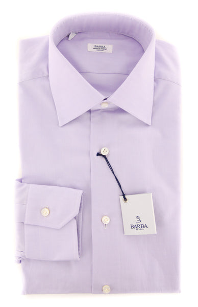New $325 Barba Napoli Purple Solid Shirt - Slim - (56005U10T) - Parent