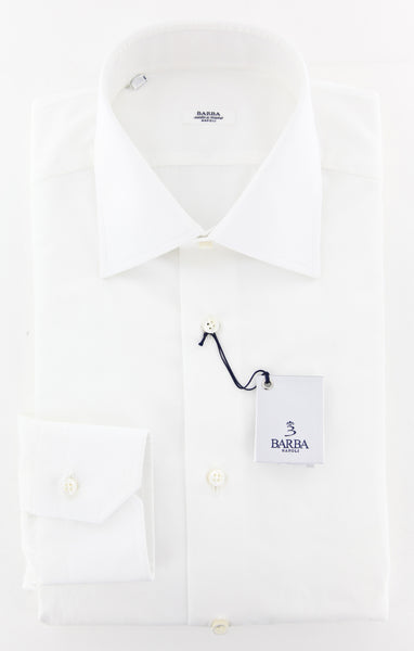 New $325 Barba Napoli White Solid Shirt - Slim - (BIANCOU10T) - Parent