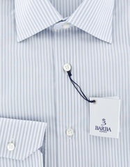 New $325 Barba Napoli Light Gray Striped Shirt - Slim - (R55U10T) - Parent