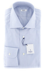 $325 Barba Napoli Light Blue Striped Shirt - Slim - 15/38 - (D443714U63R)