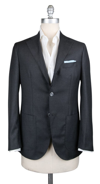 New $1200 Barba Napoli Dark Gray Wool Sportcoat - (GULELLO104186615) - Parent