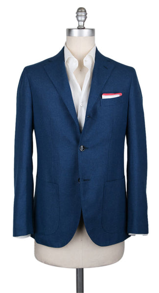 New $1200 Barba Napoli Blue Virgin Wool Solid Sportcoat - (BN98173) - Parent