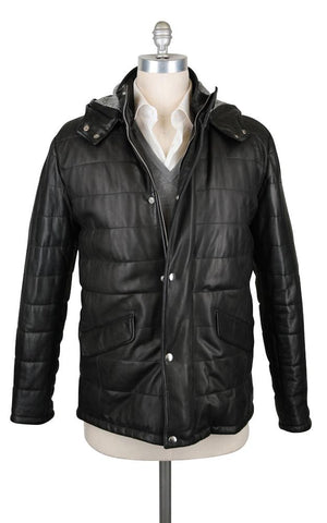 Barba Napoli Black Leather Jacket