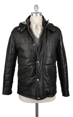 $1600 Barba Napoli Black Leather Jacket with Removable Hood - 42/52 - (M8)