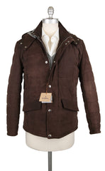 $1400 Barba Napoli Dark Brown Suede Leather Solid Jacket - 34/44 - (NO)