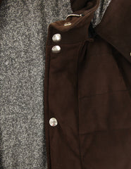 $1400 Barba Napoli Dark Brown Suede Leather Solid Jacket - (NO) - Parent
