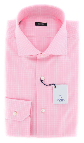 New $325 Barba Napoli Pink Check Shirt - Extra Slim - 16.5/42 - (I1U13T141)