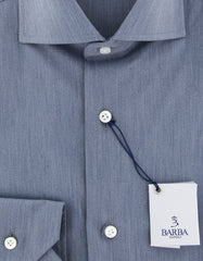 New $325 Barba Napoli Blue Solid Shirt - Extra Slim - (I12030502U13T) - Parent