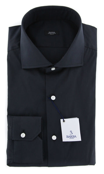 New $325 Barba Napoli Black Shirt - Extra Slim - (I1U13T343109U) - Parent