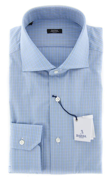 New $325 Barba Napoli Blue Check Shirt - Extra Slim - 16/41 - (I1U13T343705)