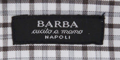 New $325 Barba Napoli Brown Plaid Shirt - Extra Slim - (372U13T) - Parent