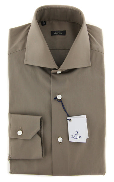 New $325 Barba Napoli Brown Solid Shirt - Extra Slim - (380812U13T) - Parent