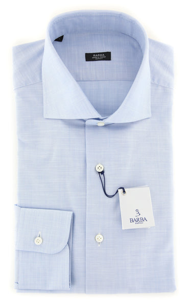 $325 Barba Napoli Light Blue Melange Shirt - Extra Slim - (I1381702U13R) - Parent