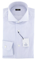 $375 Barba Napoli Blue Striped Shirt - Extra Slim - 16.5/42 - (I145141U13R)