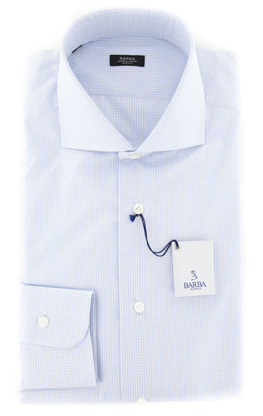 $325 Barba Napoli Light Blue Micro-Check Shirt - X Slim - (I1502407U13R) - Parent