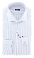 $375 Barba Napoli Light Blue Striped Shirt - Extra Slim - (I153642U13R) - Parent