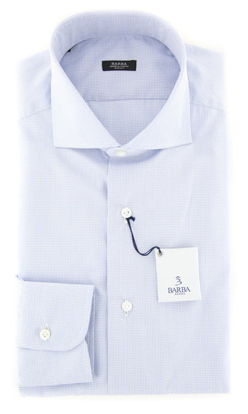 $325 Barba Napoli Light Blue Check Shirt - Extra Slim - (I1PZ3338U13R) - Parent