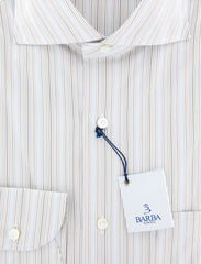 New $325 Barba Napoli Brown Striped Shirt - Extra Slim - (I1U26V49) - Parent