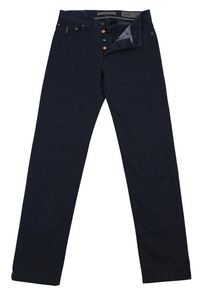 New $325 Barba Napoli Navy Blue Solid Pants - Slim - (J5M736090X26) - Parent