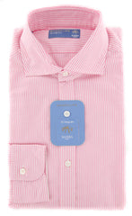New $325 Barba Napoli Pink Striped Shirt - Extra Slim - 17/43 - (LFU13R424204)