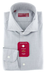 New $325 Barba Napoli Gray Solid Shirt - Extra Slim - (LIU13R453806U) - Parent