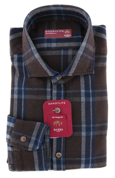 New $325 Barba Napoli Brown Shirt - Extra Slim - (LIU73R455002Q) - Parent