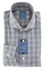 New $325 Barba Napoli Gray Plaid Shirt - Extra Slim - 15/38 - (BN600ST4)