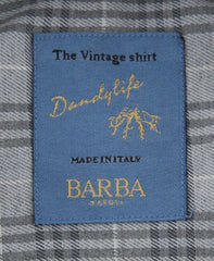 New $325 Barba Napoli Gray Plaid Shirt - Extra Slim - (BN600ST4) - Parent
